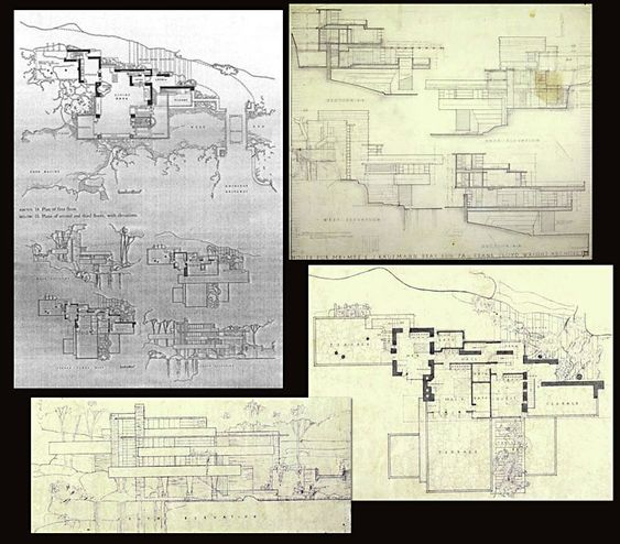 Original floor plan and section cuts frank lloyd wright for Frank lloyd wright flooring