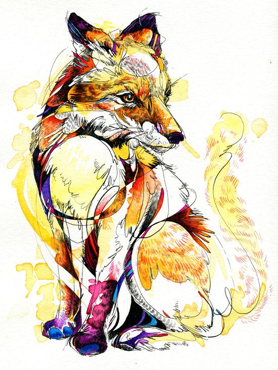 Fox Flow- India ink and watercolor painting by Abby Diamond