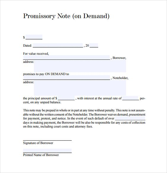 Due on demand means when payee ask then payer have to pay that - promissory notes examples