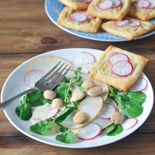 two recipes: radish tart and salad of living watercress