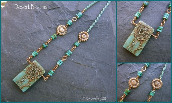 Polymer Clay pendant by Roberta Warshaw, turquoise heishi beads, bronze by THEA too, macrame spiral waxed linen cord.