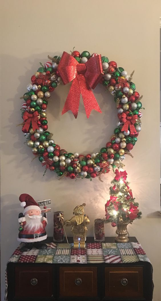 "41"" Christmas Wreath. Handmade Pool Noodle ornament wreath I made with 200 ornaments.   Made by Suzanne Lyons"