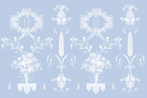 Rococo Garden in sun fade on blueberry fabric by lilyoake on Spoonflower - custom fabric