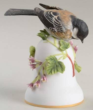 Black capped chickadee franklin mint bird bells porcelain at replacements ltd bells - Chickadee figurine ...