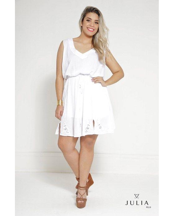 Vestido De Viscose Com Acabamento Amassado - Branco
