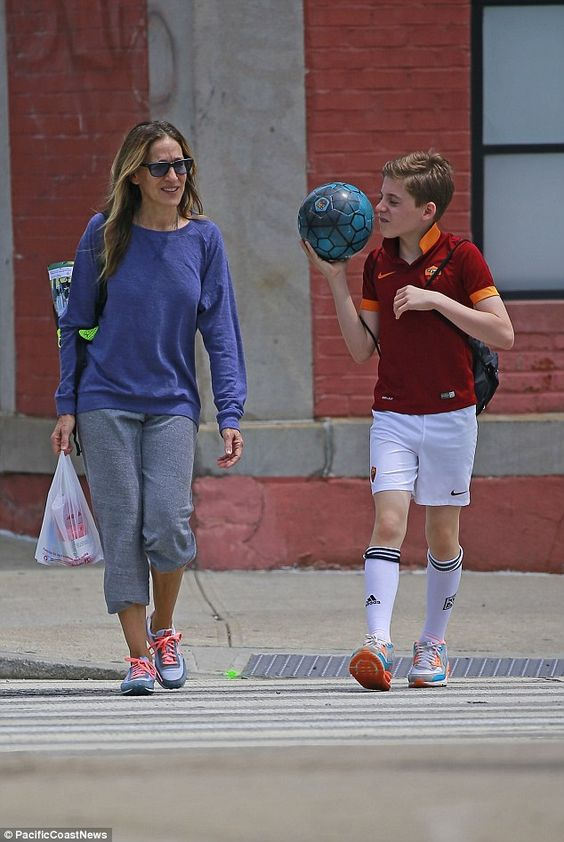 Soccer mom: Sarah Jessica Parker looked right at home as she slipped into mom duty while taking son James to his soccer game in NYC on Saturday