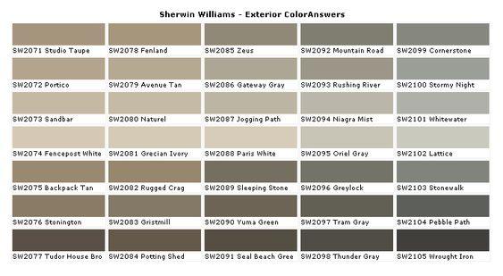 Paint Charts Paint Colors And House Paint Colors On Pinterest