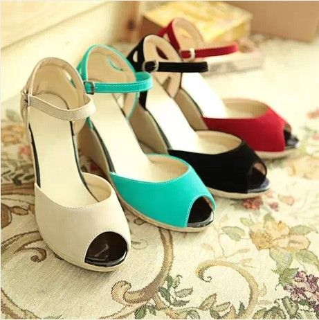2014 open toe wedges high-heeled casual shoes all-match scrub hasp sweet women's sandals US $6.50