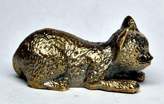 Фигурка из бронзы - Котенок притаился  Размер: высота - 2 см, длина - 4,3 см, вес - 55 гр. - 450 руб.