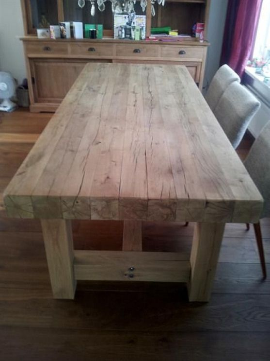 Love The Thick Tabletop Farmhouse Dining Table Diy Dining Table Diy Farmhouse Table