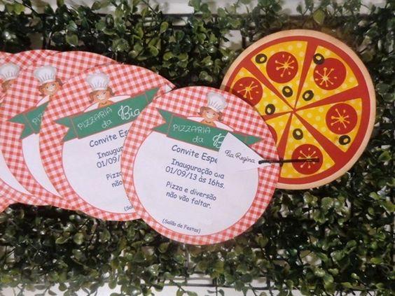 Convite Festa Pizzaria   Mimos e Encantos Ateliê   Elo7