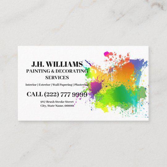 Painter Decorator Interior And Exterior Business Card Zazzle Com In 2021 Painter Business Card Painter And Decorator Interior And Exterior