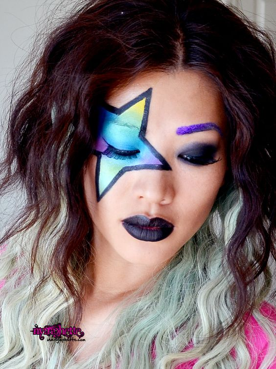 Dramatic face makeup | inspired makeup dramatic black lips creative makeup art star makeup ...