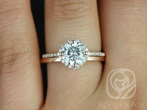 Kitana 7mm & Plain Barra 14kt Rose Gold FB Moissanite and Diamonds Cushion Halo Wedding Set (Other metals and stone options available)