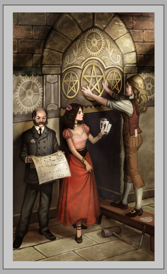 3 of Pentacles from the upcoming Steampunk Tarot by Barbara Moore.