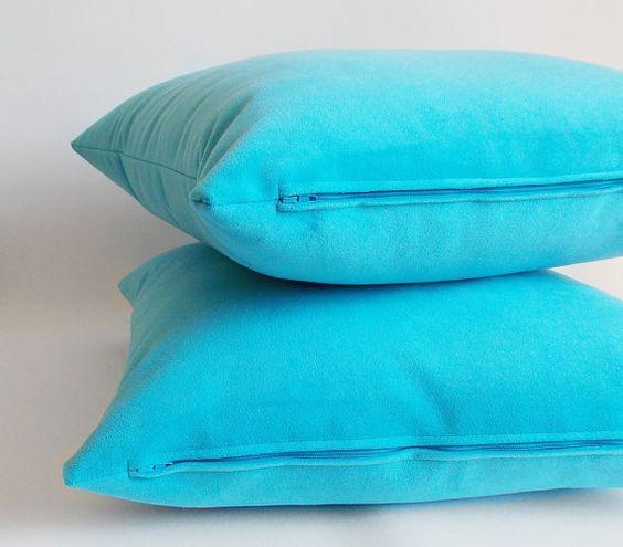 SET 2/Turquoise Velvet pillow 18x18 45 cmx 45 by mertakkul on Etsy
