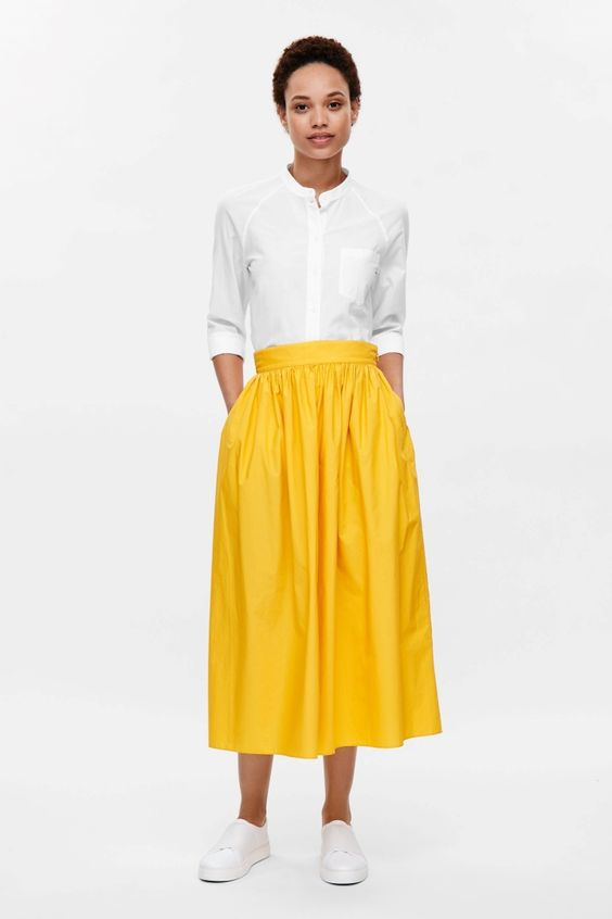 Gathered cotton skirt   Cos