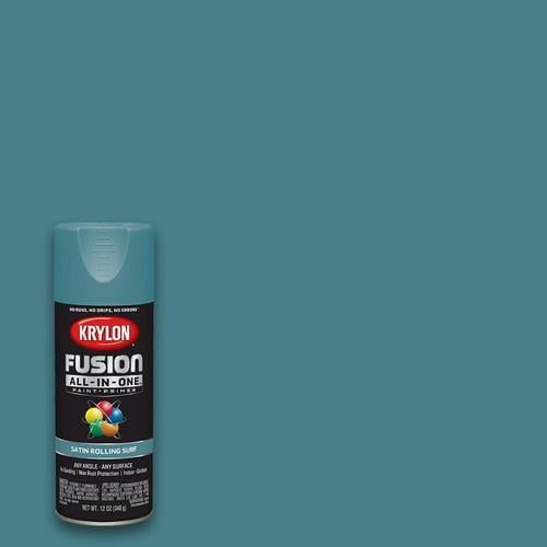Krylon Fusion All In One Satin Rolling Surf Spray Paint And Primer In One Actual Net Contents 12 Oz In 2020 Blue Spray Paint Green Spray Paint Surf Spray
