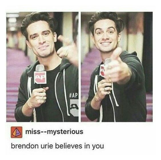 """""""If you're ever doubting yourself, just know what Brendon Urie believes in you"""" by george-ryan-ross-the-third ❤ liked on Polyvore featuring beauty"""