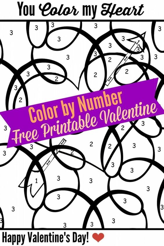 printable valentine color by numbers and numbers on pinterest. Black Bedroom Furniture Sets. Home Design Ideas