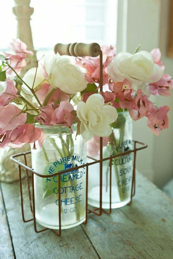 simple home decor, mason jars, fresh flowers