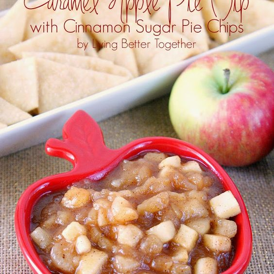 Caramel Apple Pie Dip with Cinnamon Sugar Pie Chips Recipe Desserts, Appetizers with diced apples, fresh lemon juice, light brown sugar, apple pie spice, corn starch, water, caramel sauce, refrigerated piecrusts, sugar, cinnamon, butter