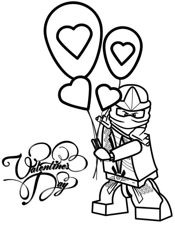 Ninjago Lloyd Zx Holding Valentines Day Balloons Coloring ...