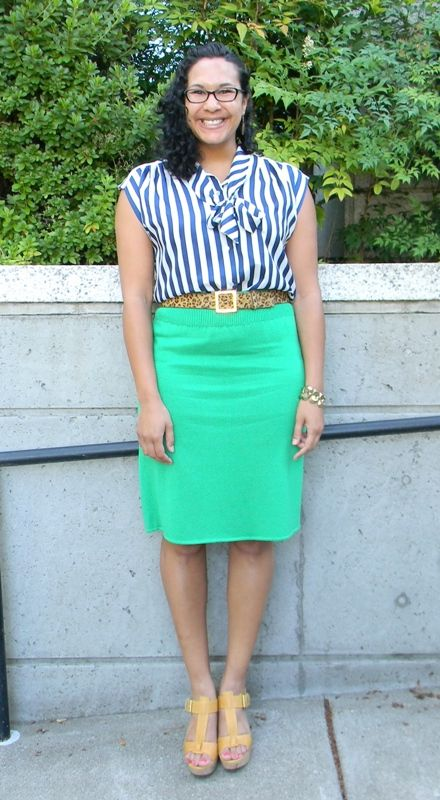 Fashion for Giants outfit featuring kelly green skirt, blue stripe bow blouse, leopard belt & yellow platform sandals by @Already Pretty