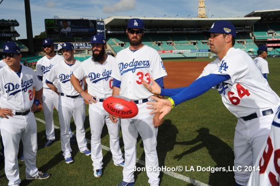 Dodgers practicing their Rugby 3/19/14 Los Angeles Dodgers Workout at Sydney Crickett Ground by Jon SooHoo