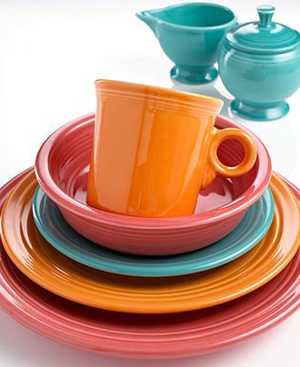 18 different colors to mix and match from! great vintage vibe. a few pieces mixed with your own neutral pattern would be fun and colorful. Fiesta Dinnerware