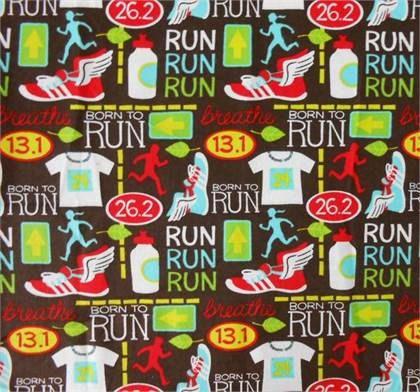 Run marathon flannel fabric by the half yard kids season for Children s flannel fabric by the yard