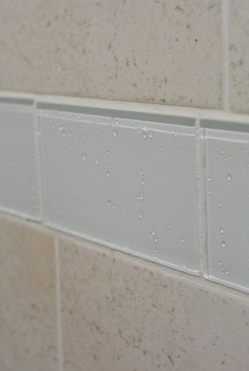 Replacing Old Shower Border Tiles Glass Subway Tile