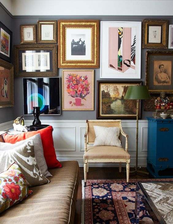 New York Living Room, Colourful Gallery Wall | Living Space