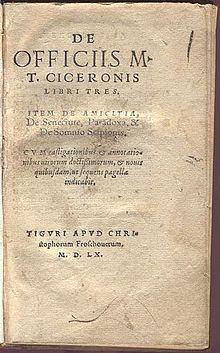 DE OFFICIIS. Cicerón