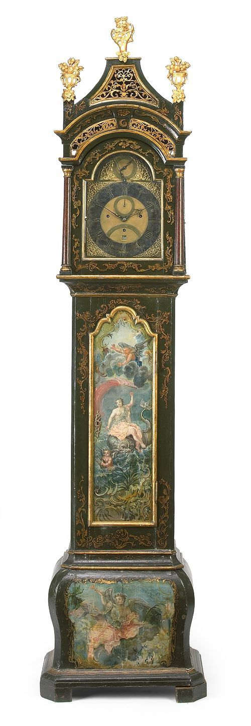 Musical Tall Case Clock,   A parcel gilt paint decorated musical tall case clock 