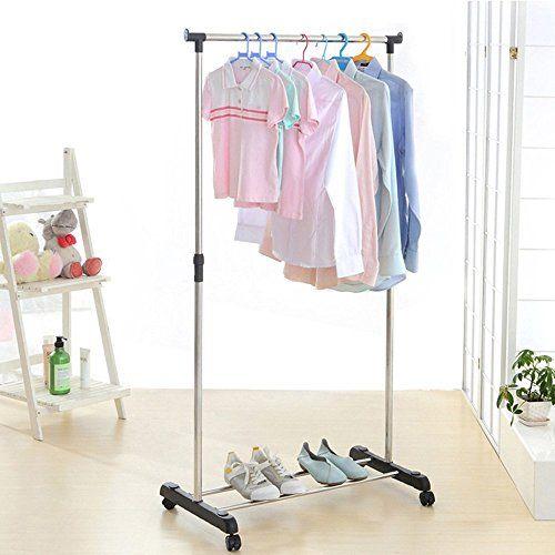 Ikayaa Adjustable Coat Clothes Garment Hanging Rack Rolling Cloth