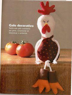 Galo Decorativo Com Molde. ~ Artesanato Dona Arte