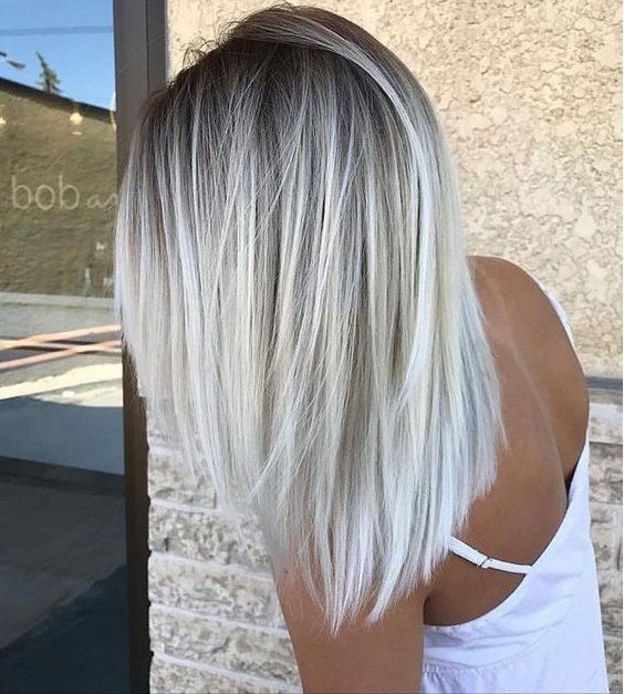 21 Icy Blonde Hair with Dark Roots Colour Ideas