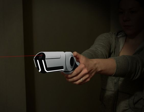 This design aims to provide a non-lethal solution for defending your home when the security system and locks have failed. The weapon pulses an invisible laser that super-heats the surrounding air. The resulting plasma explosion delivers a swift kick to the intruder while electro magnetic waves induce temporary paralysis. Additionally, when the unit is turned on, an integrated camera and microphone feed to on off-site security center that will notify the police of an incident.  WHOA.