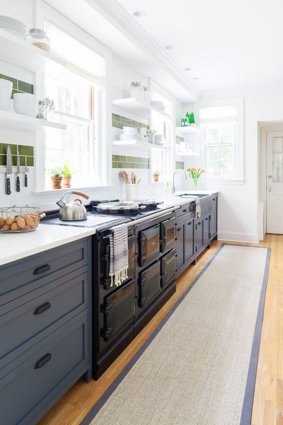 Cutest Kitchen Remodel Navy Blue Lower Cabinets Tkd In The Kitchen Pinterest Hardware