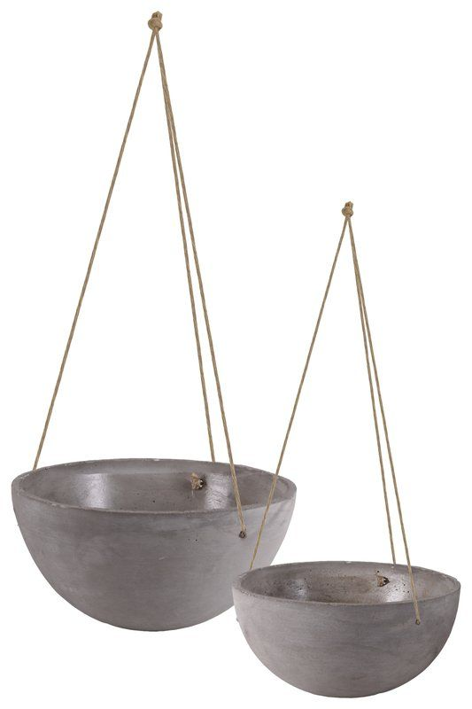 Mayville Round Rope Hanger 4 Piece Cement Pot Planter Set In 2020 Concrete Finishes Cement Pots Hanging Plants Indoor