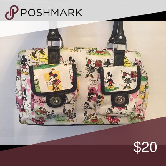 👛SALE!!👛 Disney Minnie Mouse Tote Cute graphic Disney purse. Spacious inside with two outside pockets. Measures about 16x6x8 Disney Bags Totes