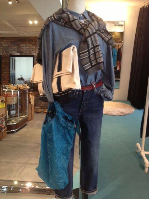 MIRROR OF Shinzone shirt + MIRROR OF Shinzone jeans + sea New York knit pullover + MAISON BOINET belt + 20/ 80 clutch + GRANITE GEAR grocery bag