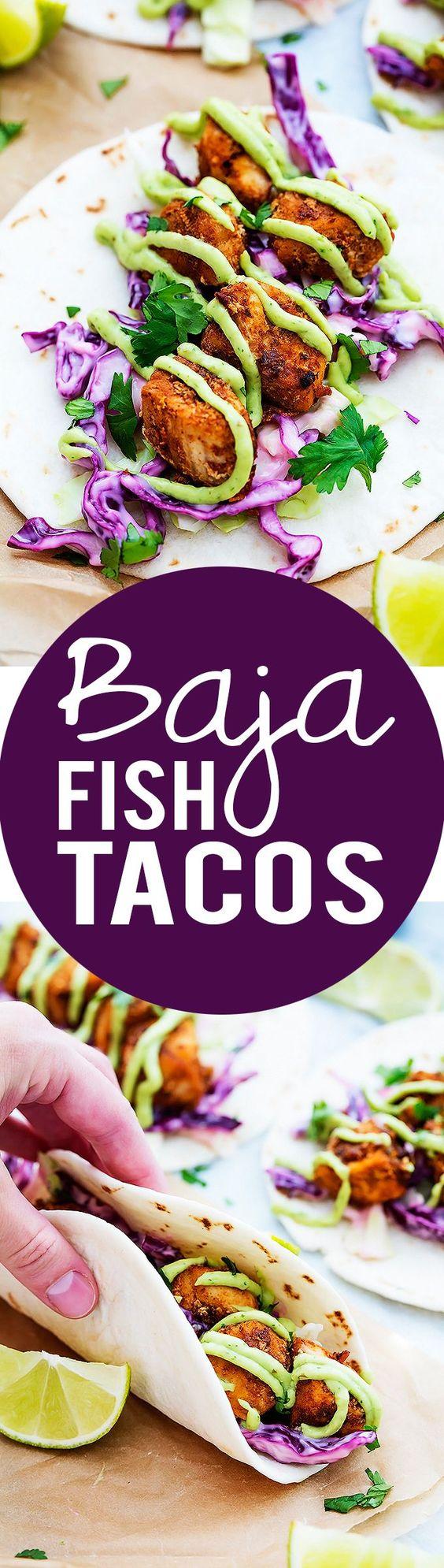 Baja fish tacos recipe lettuce leaves things to make for Greek yogurt fish taco sauce