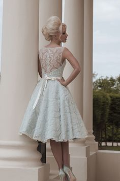 Something Blue Short Wedding Dress. Via Inweddingdress.com #weddingdresses Nice cute, detailed, Love it!