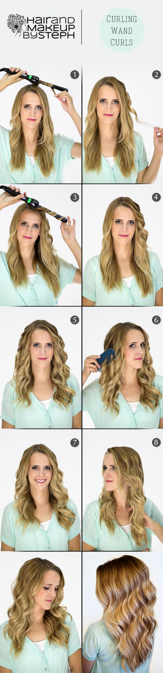You can do the same thing as shown here but with a regular curling iron too. You don't have to go out and buy a curling wand--just wrap hair around the entire shaft of the iron (clamp included). Viola!