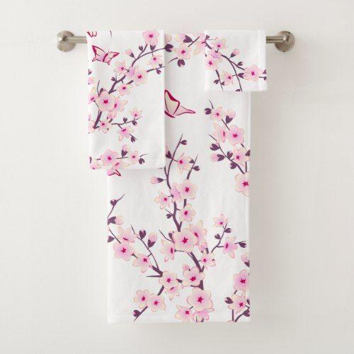 Floral Cherry Blossoms Bath Towel Set Zazzle Com Grey Bath Towels Romantic Bathroom Decor Towel Set