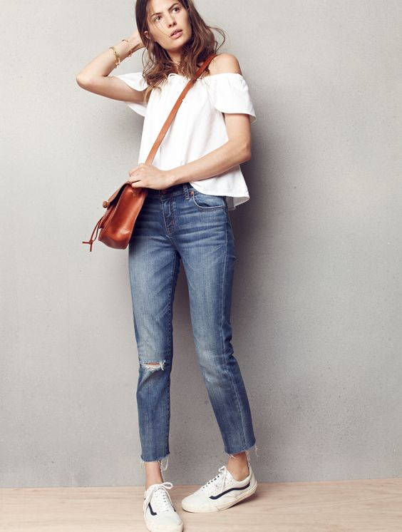 madewell alley straight crop jeans worn with the off-the-shoulder top, savannah saddlebag + vans® old skool lace-up sneakers.: