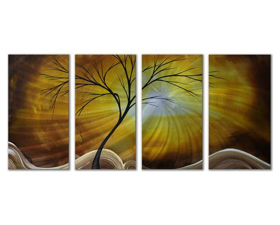Golden Horizons Four-Panel Trees Metal Wall Art | Products ...