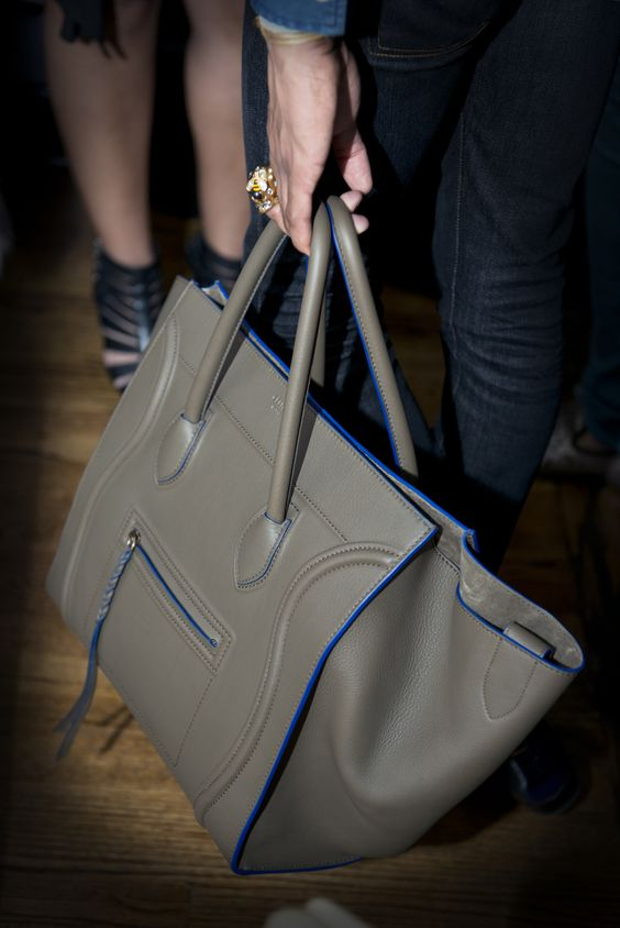 celini bags - My friend's Celine Phantom bag in taupe with blue edges. See more ...
